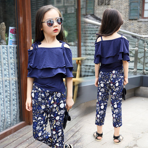 Girls sarafan top+floral Pants 2 Pcs clothes for girls 9 10 11 12 13 14 year