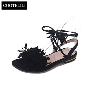 COOTELILI Real Fur Ankle Strap Gladiator Sandals
