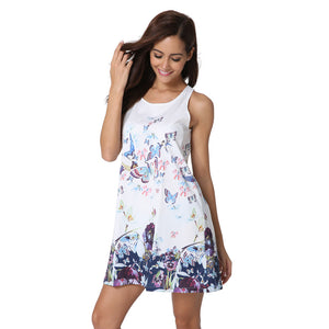 3D Butterfly Print High Quality Vest Dress Sleeveless