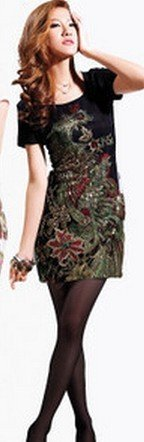5XL Phoenix Embroidery Slim plus size knee-length Spring Summer Elegant Vintage party dress