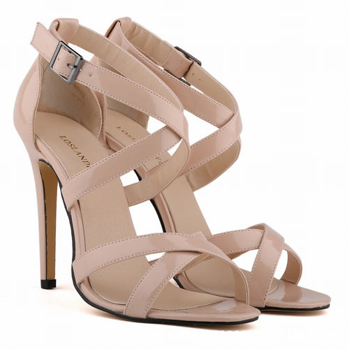 Thin Heels Shoes Patent Leather Solid Peep Toe Women Sandals