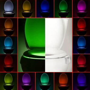 16 Color Toilet Night Light LED Motion Activated Sensor Lamp Bathroom Seat Bowl