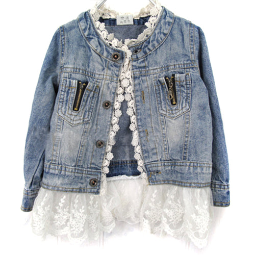 Girls Jean Jackets Kids Lace Coat Long Sleeve Button Denim Jackets For Girls 2-7Y