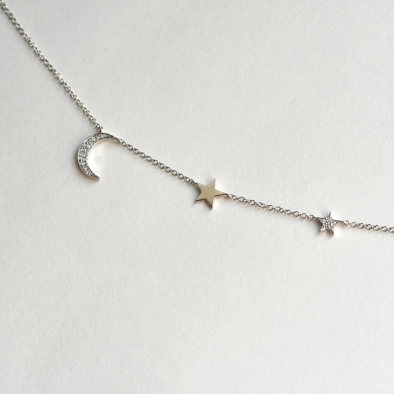 Diamond Moon and Stars Necklace - Goldmakers Fine Jewelry