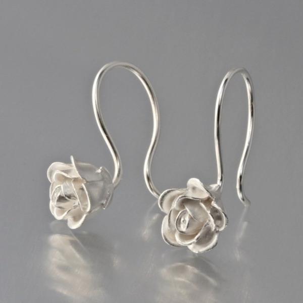 Petite Silver Rose Earrings - Goldmakers Fine Jewelry
