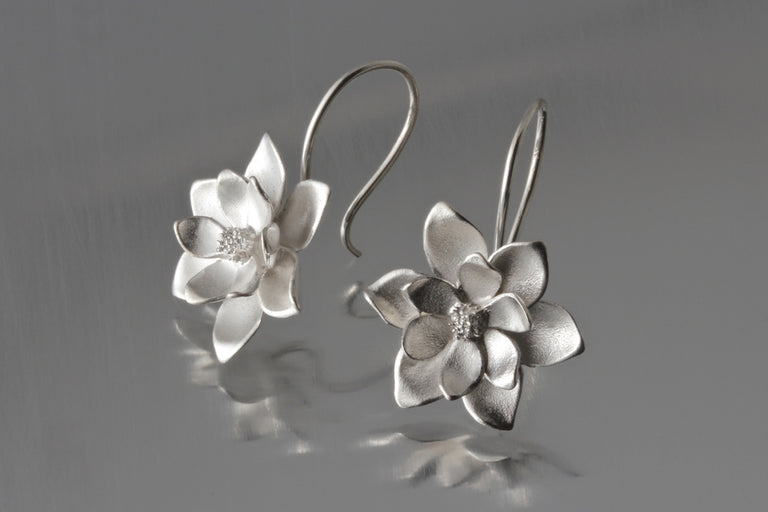 Magnolia Wire Drop Earrings - Goldmakers Fine Jewelry