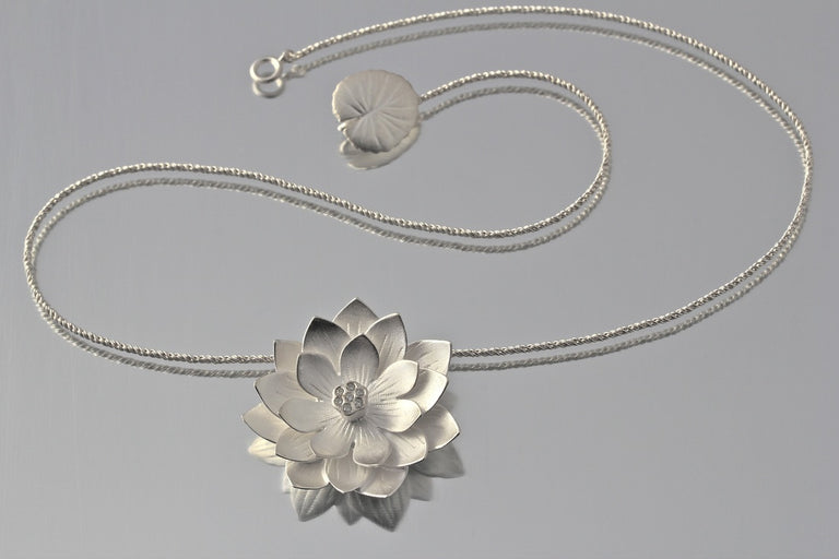 Large Lotus Necklace - Goldmakers Fine Jewelry