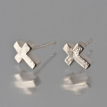 Mini Cross Post Earrings - Goldmakers Fine Jewelry