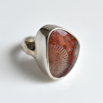 Fossilized Coral Agate Ring in Sterling Silver - Goldmakers Fine Jewelry