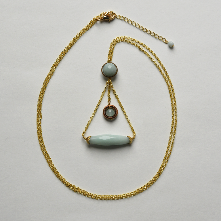 Amazonite Balance Necklace - Goldmakers Fine Jewelry