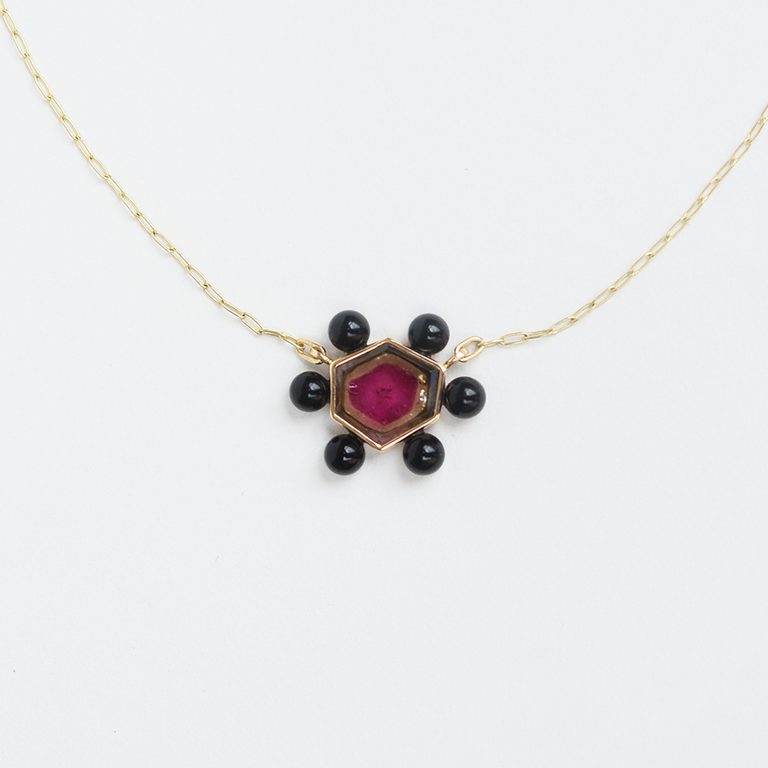 Amoeba Necklace in Watermelon Tourmaline and Onyx - Goldmakers Fine Jewelry