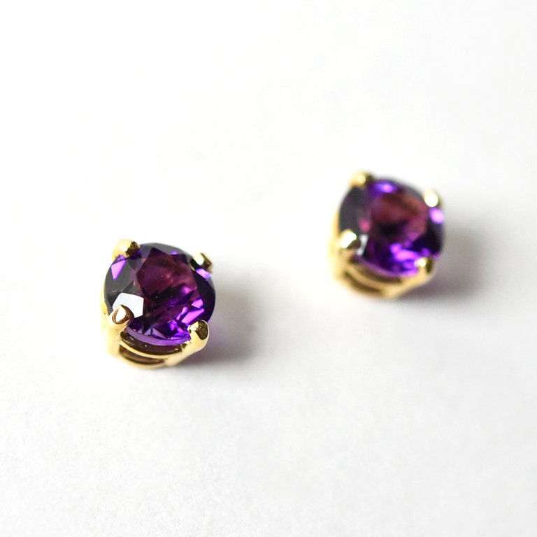 Gold and Amethyst Post Earrings - Goldmakers Fine Jewelry