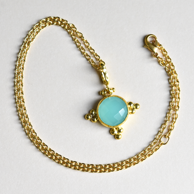 Aqua Chalcedony Necklace - Goldmakers Fine Jewelry