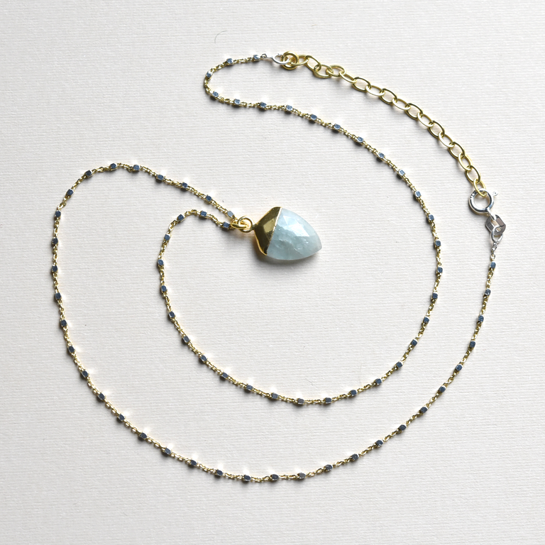 Aquamarine Shield Necklace - Goldmakers Fine Jewelry