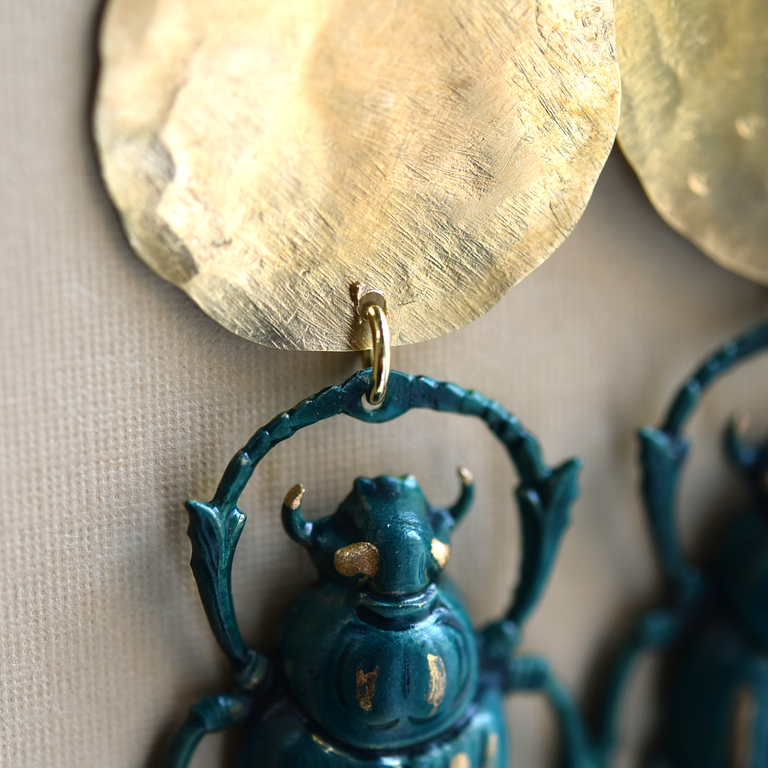 Ashka Scarab Earrings - Goldmakers Fine Jewelry