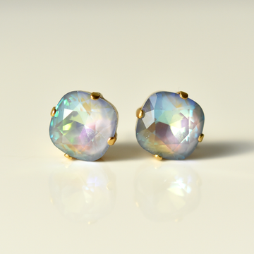 Aurora Borealis Studs in Blue and Magenta - Goldmakers Fine Jewelry