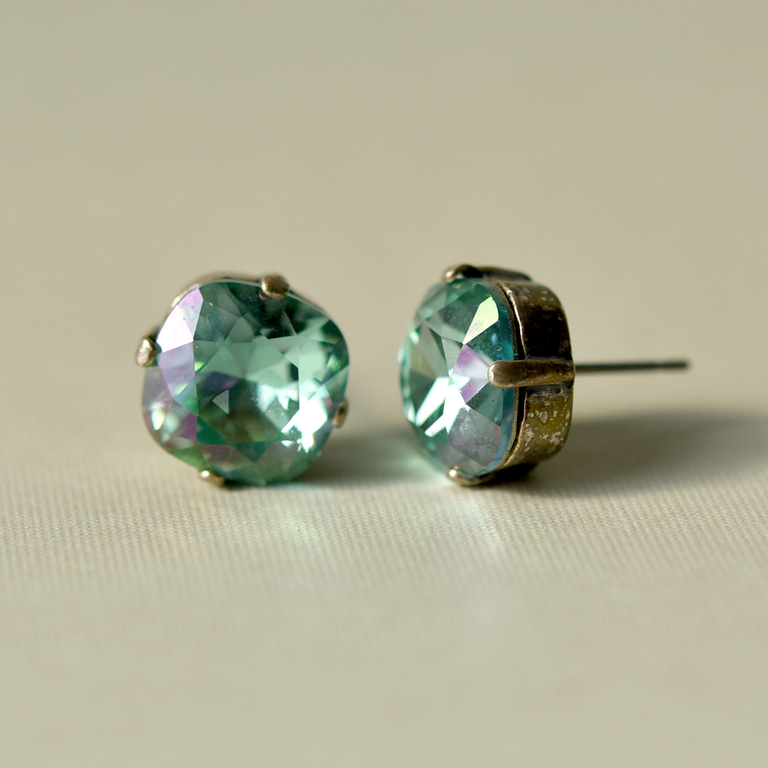 Aurora Borealis Studs in Teal and Purple - Goldmakers Fine Jewelry