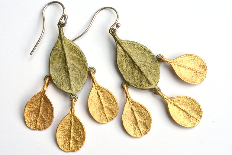 Bahamian Bay Green and Gold Drop Leaf Earrings - Goldmakers Fine Jewelry