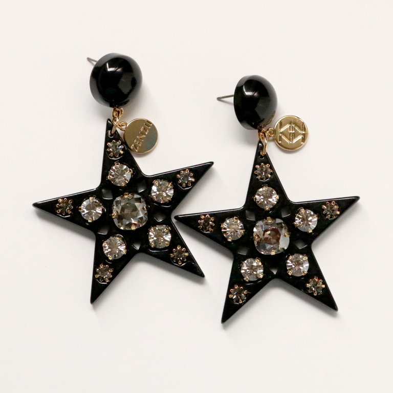 Superstar Earrings in Black - Goldmakers Fine Jewelry
