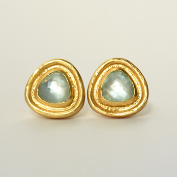 Barcelona Studs in Seaglass Green - Goldmakers Fine Jewelry