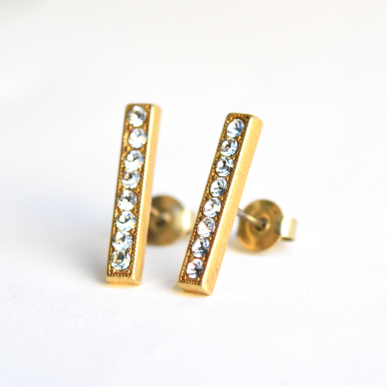 Crystal Bar Studs - Goldmakers Fine Jewelry