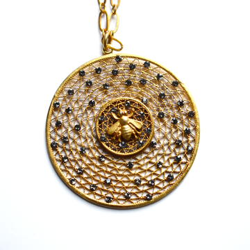Bees Hive Medallion Necklace - Goldmakers Fine Jewelry