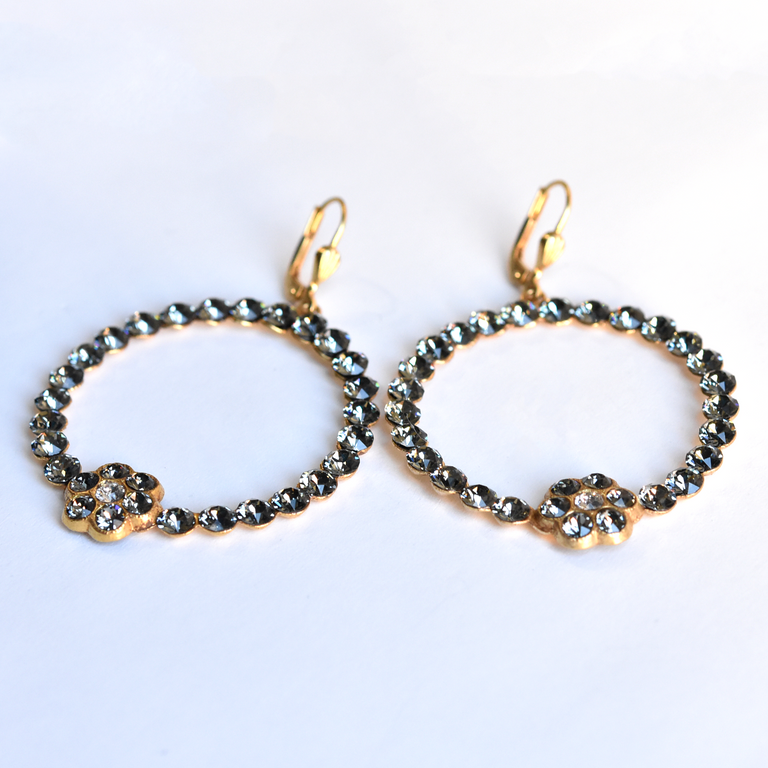 Black Crystal Hoops - Goldmakers Fine Jewelry