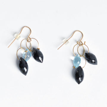 Topaz and Black Spinel French Wire Earrings - Goldmakers Fine Jewelry