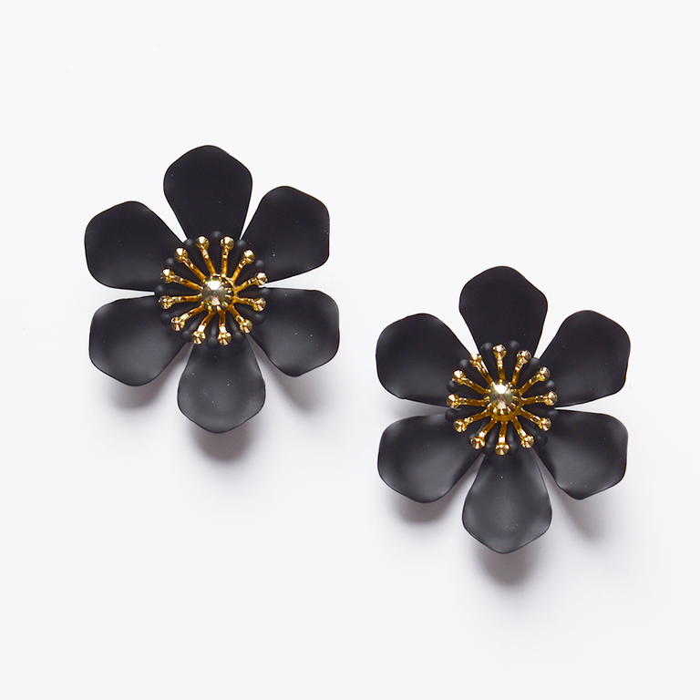 Black Flower Studs - Goldmakers Fine Jewelry