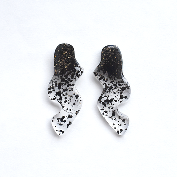 Black and Gold Glitter Squiggle Post Earrings - Goldmakers Fine Jewelry