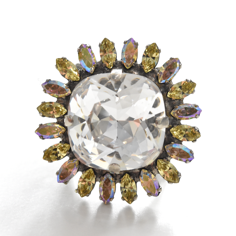 Crystal Firework Cocktail Ring - Goldmakers Fine Jewelry