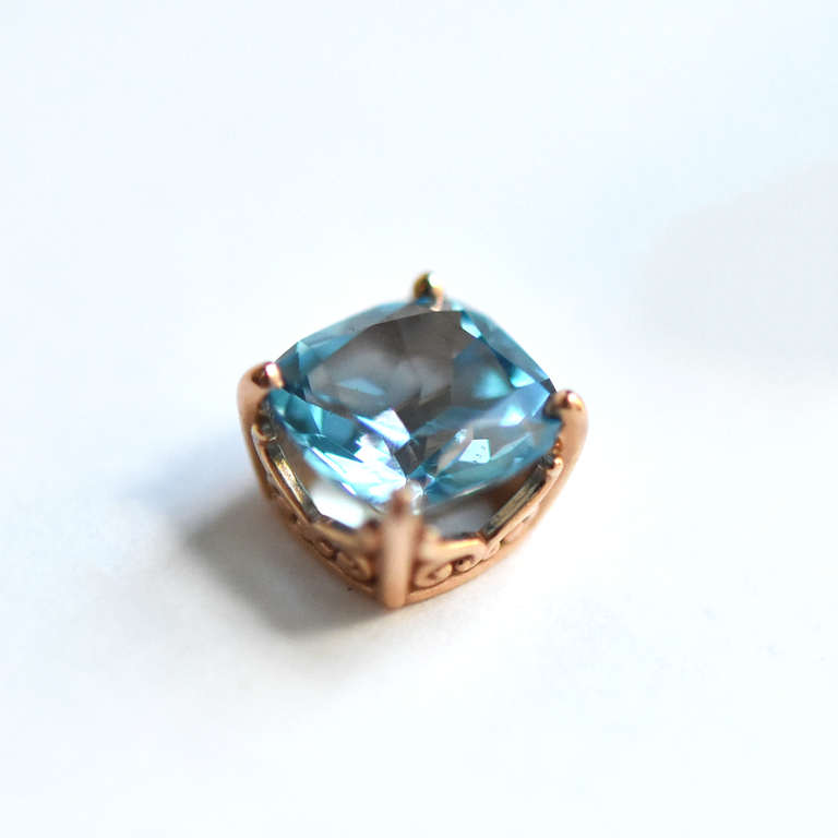 Rose Gold and Blue Topaz Post Earrings - Goldmakers Fine Jewelry