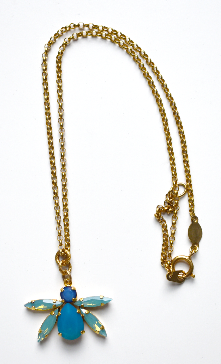 Blue Bee Necklace - Goldmakers Fine Jewelry
