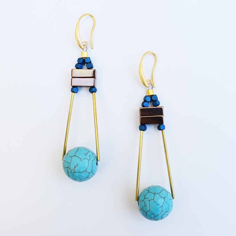 Blue Globe Wire Earrings - Goldmakers Fine Jewelry