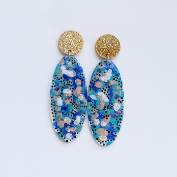 Blue and Gold Oval Drop Post Earrings - Goldmakers Fine Jewelry