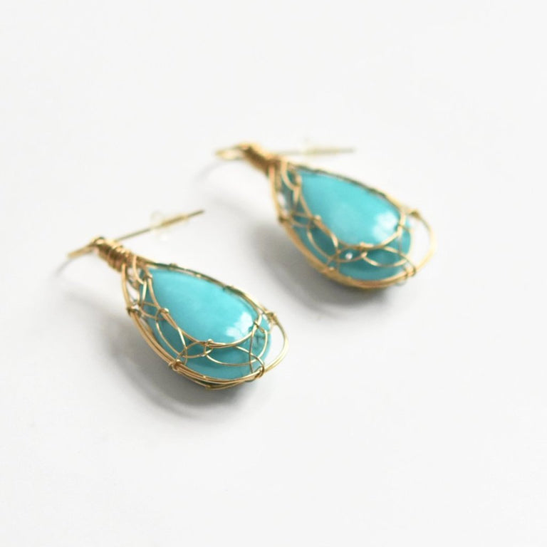 Turquoise Golden Web Drop Earrings - Goldmakers Fine Jewelry