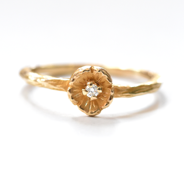 Buttercup Engagement Ring in Gold with Diamonds Mini Band - Goldmakers Fine Jewelry