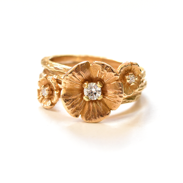 Buttercup Stacking Engagement Set in Gold with Diamonds - Goldmakers Fine Jewelry