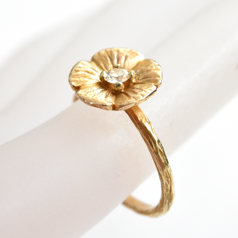 Buttercup Engagement Ring in Gold with Diamonds Main Band - Goldmakers Fine Jewelry