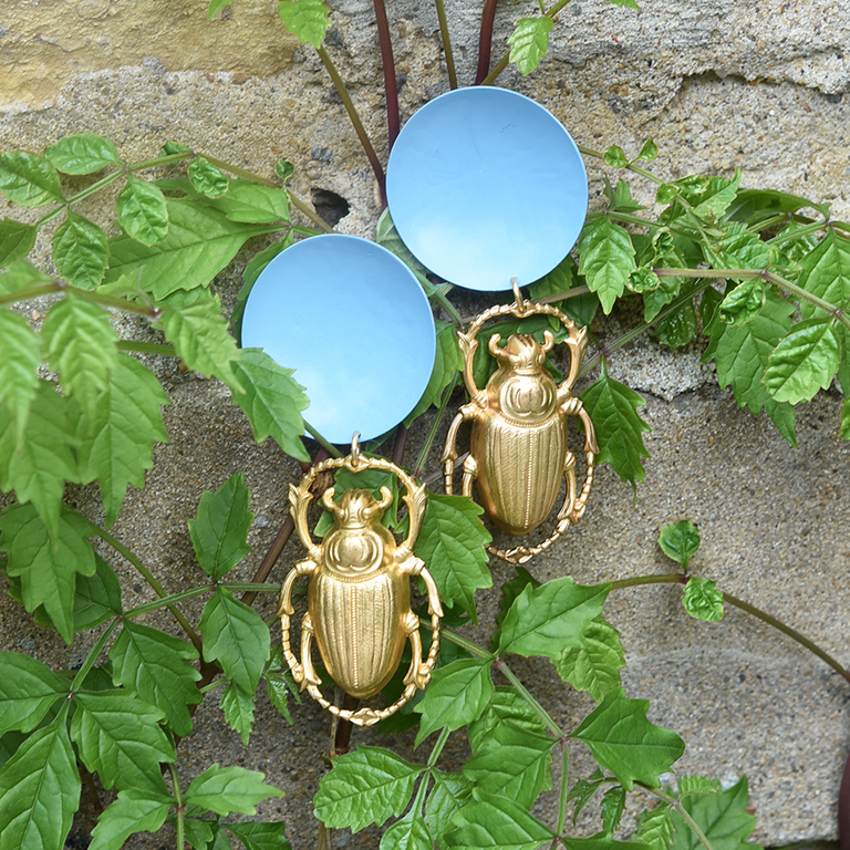 Cadet Blue Scarab Beetle Earrings - Goldmakers Fine Jewelry