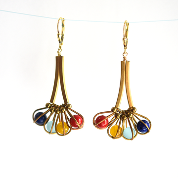 Caged Bead Drop Earrings - Goldmakers Fine Jewelry