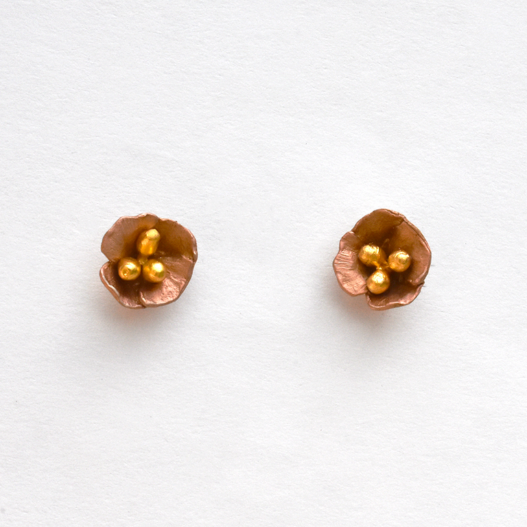 California Poppy Studs - Goldmakers Fine Jewelry