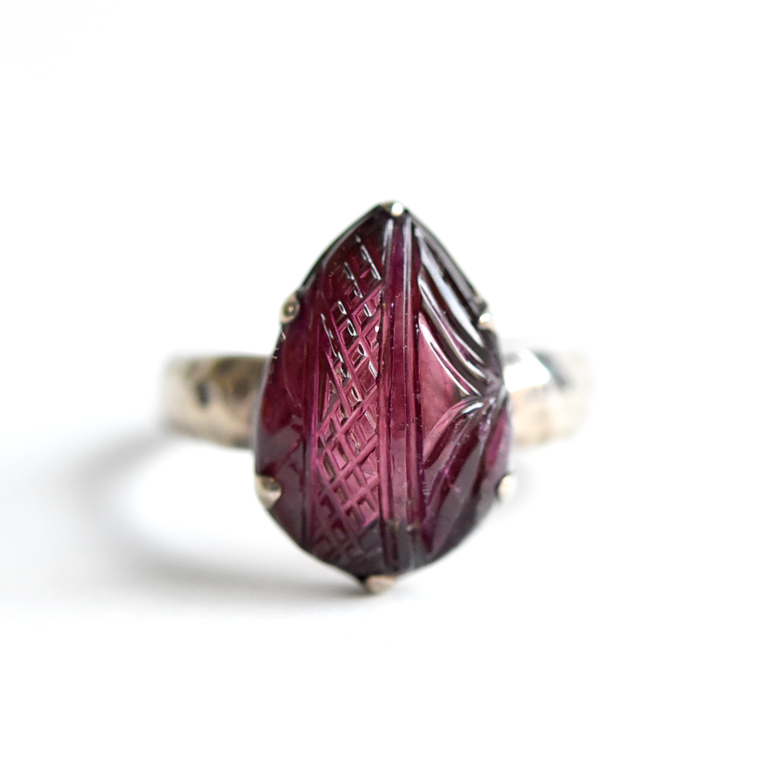 Carved Tourmaline Ring in Sterling Silver
