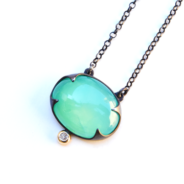 Chrysoprase Necklace in Black Silver with Diamond - Goldmakers Fine Jewelry