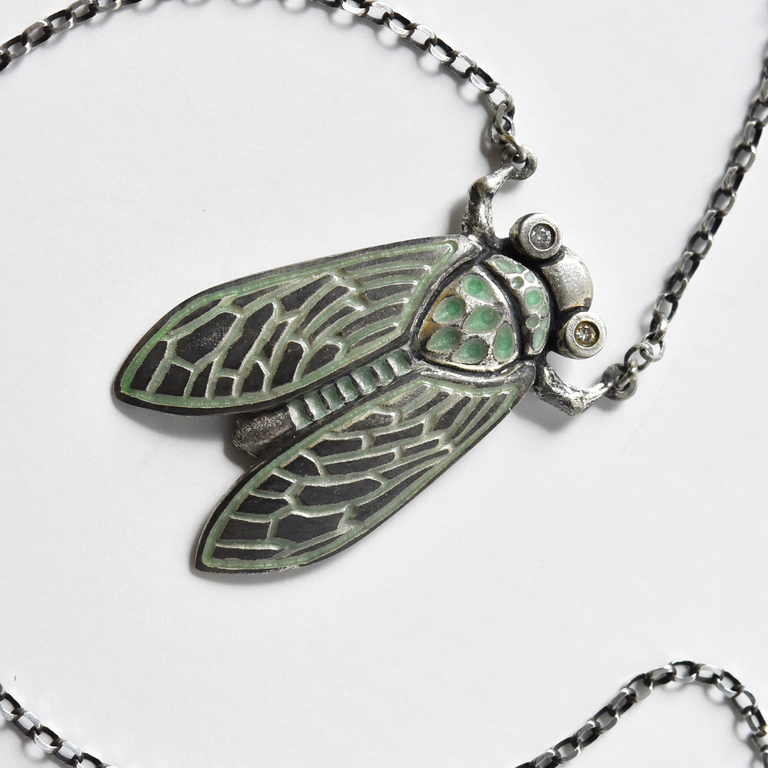 Light Green Enamel Cicada Diamond Necklace - Goldmakers Fine Jewelry