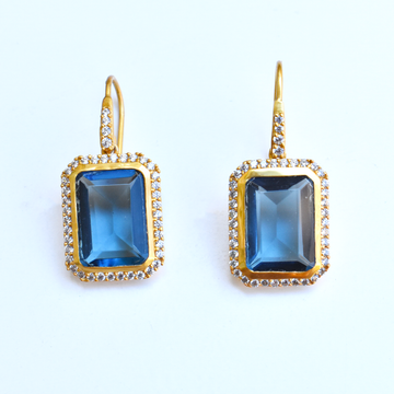 Clara Luxe Earrings in Azure Blue - Goldmakers Fine Jewelry