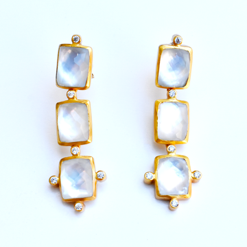 Clara Tier Crystal Earrings - Goldmakers Fine Jewelry