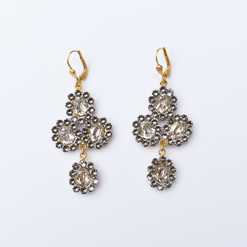 Clear Cross Drop Earrings - Goldmakers Fine Jewelry