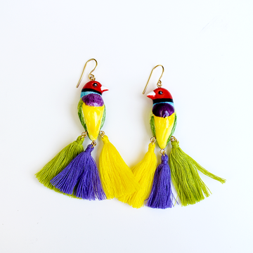 Colorful Bird with Fringes - Goldmakers Fine Jewelry