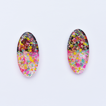 Confetti Glitter Oval Studs - Goldmakers Fine Jewelry